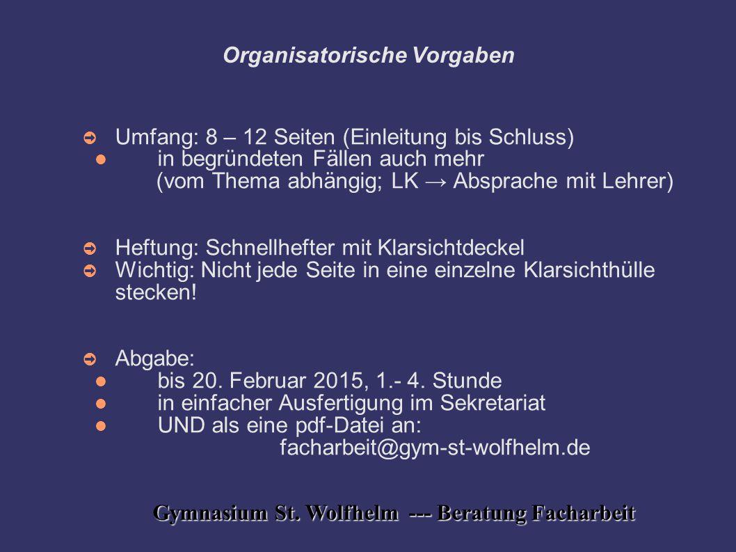 Organisatorische Vorgaben