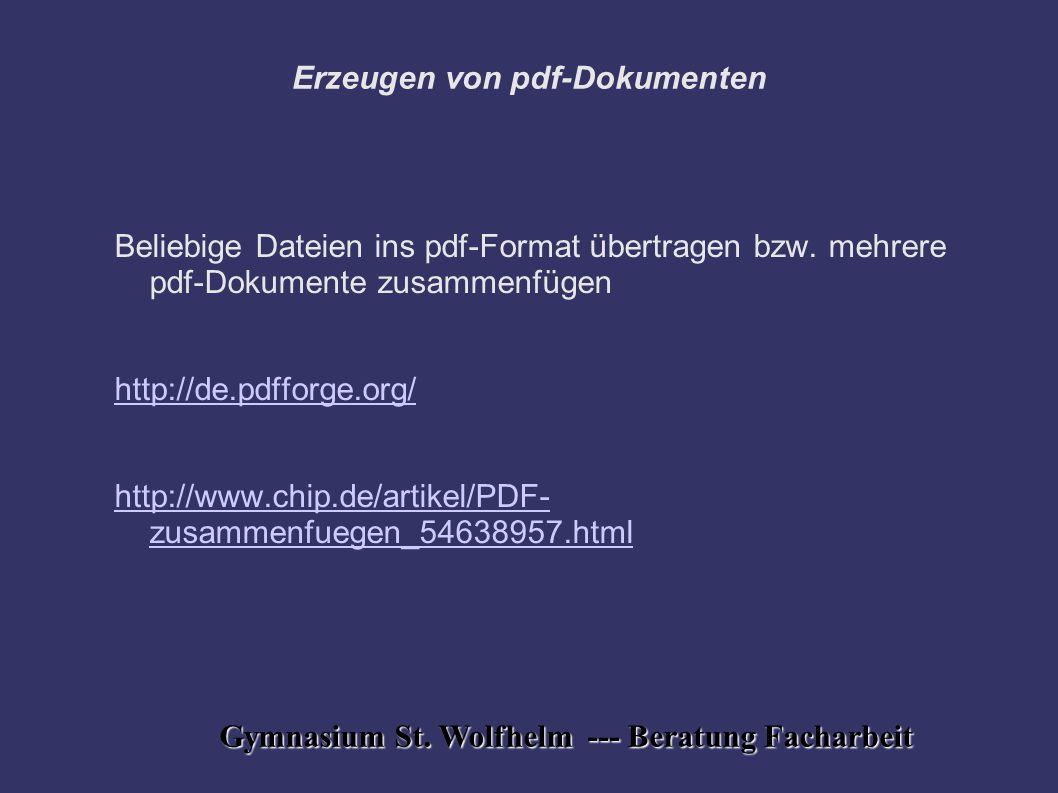 Erzeugen von pdf-Dokumenten