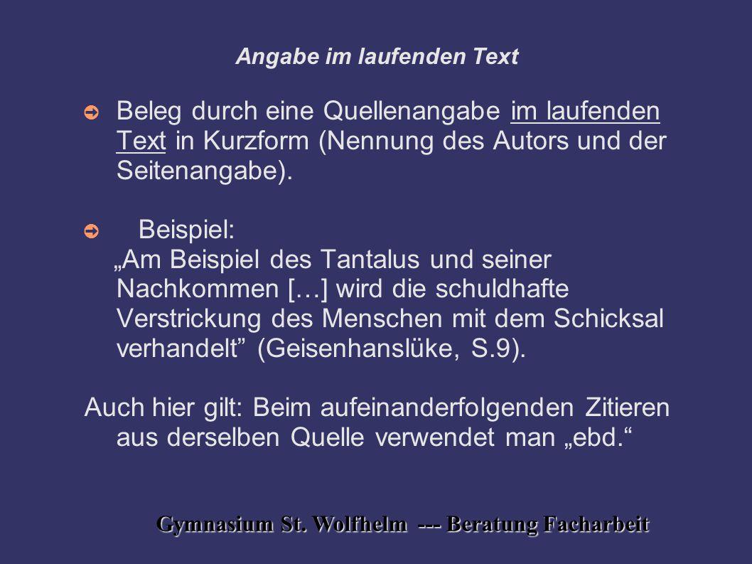 Angabe im laufenden Text