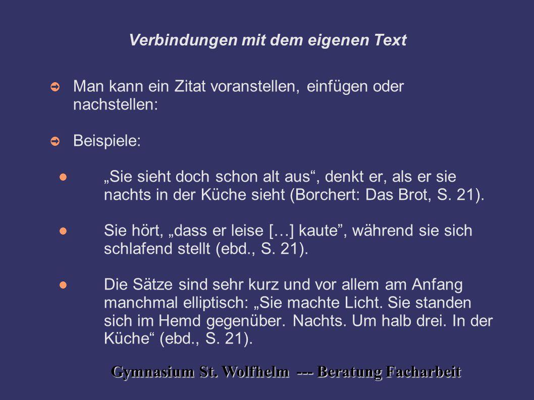 Verbindungen mit dem eigenen Text