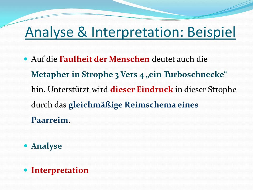 Analyse & Interpretation: Beispiel