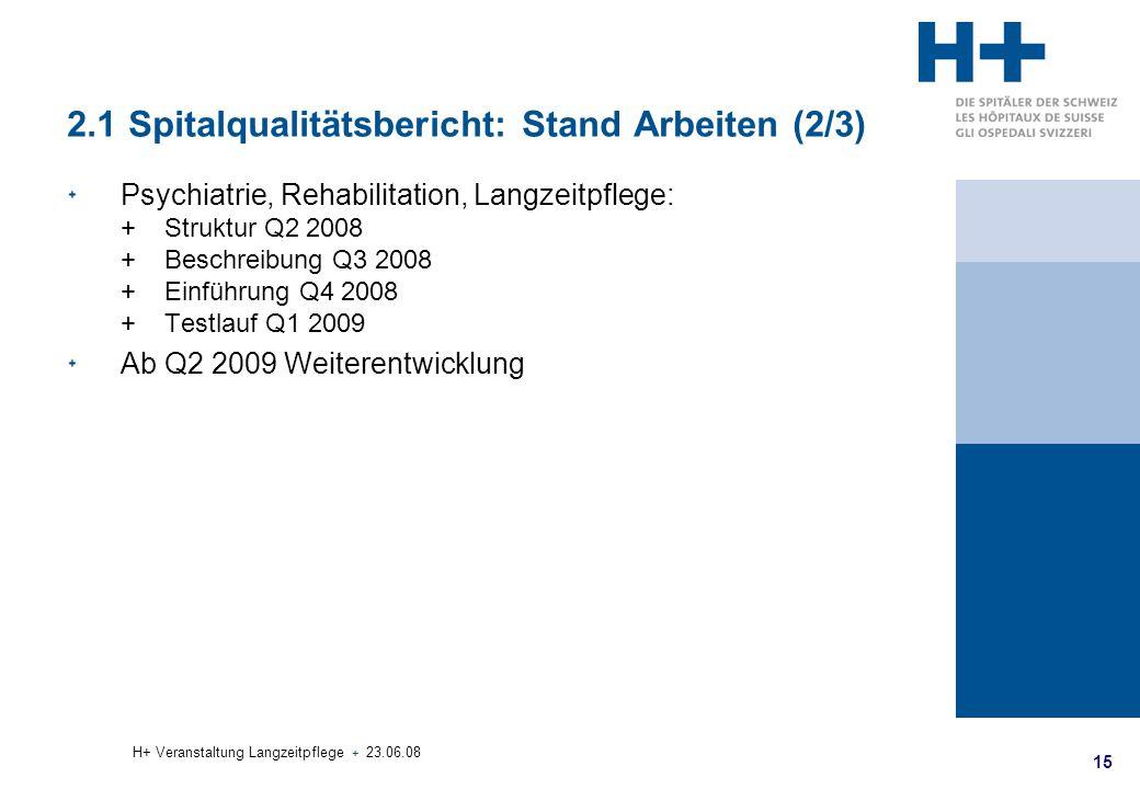 2.1 Spitalqualitätsbericht: Stand Arbeiten (2/3)