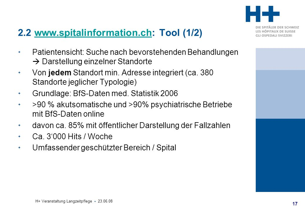 2.2 www.spitalinformation.ch: Tool (1/2)