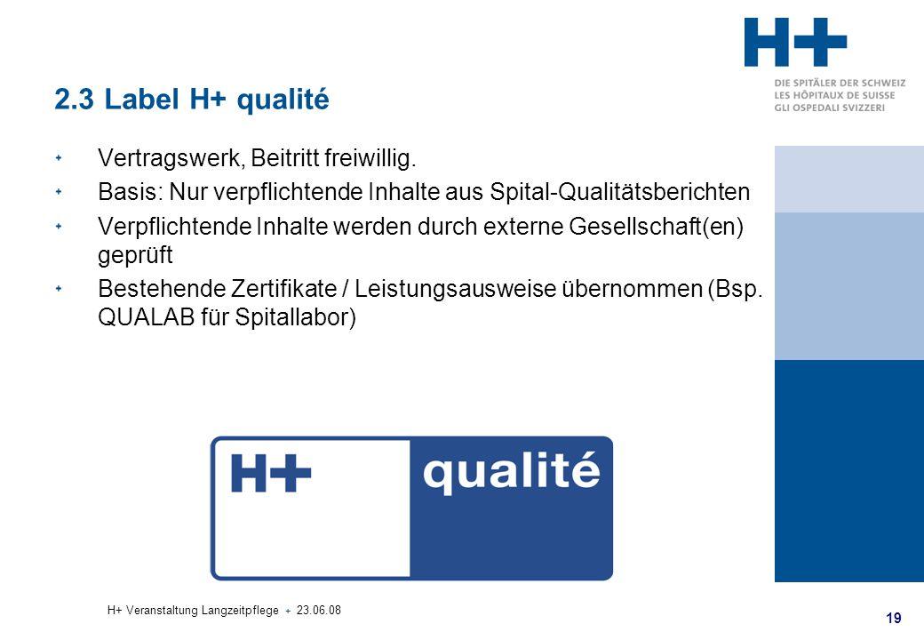 2.3 Label H+ qualité Vertragswerk, Beitritt freiwillig.