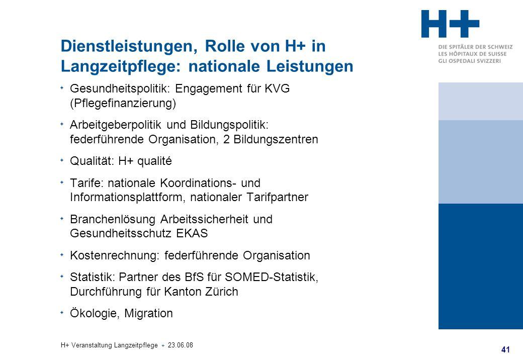 Dienstleistungen, Rolle von H+ in Langzeitpflege: nationale Leistungen