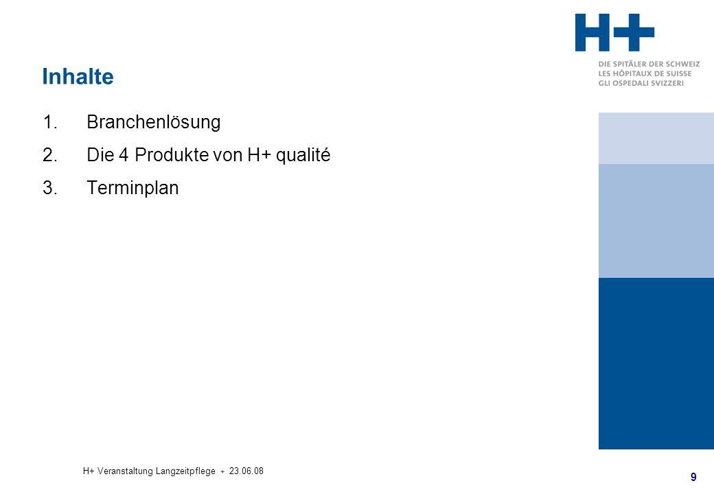 Inhalte Branchenlösung Die 4 Produkte von H+ qualité Terminplan