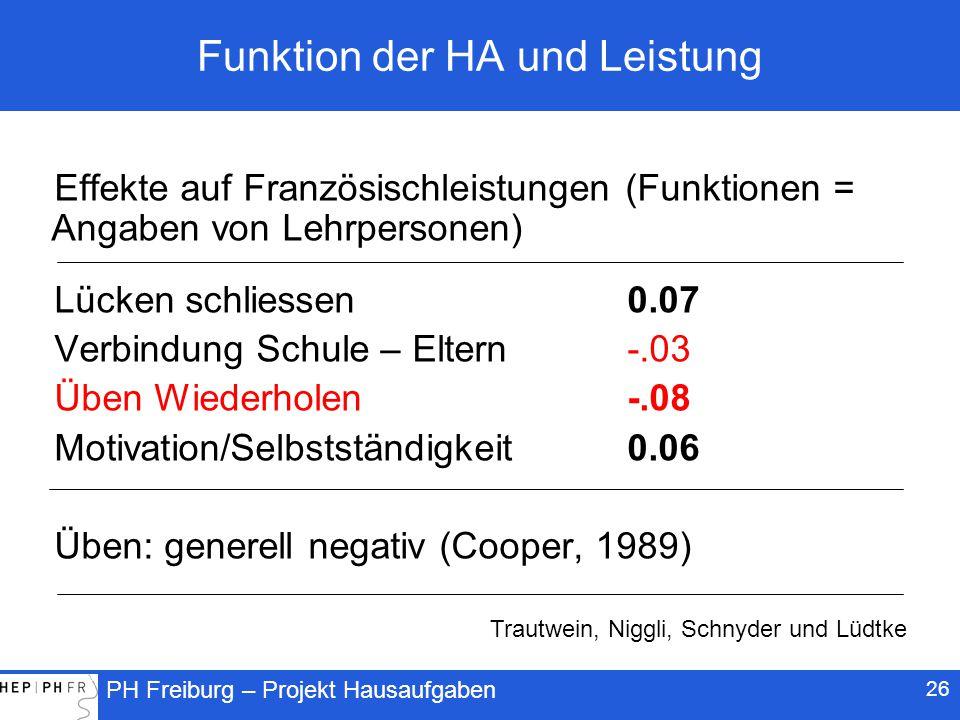 Funktion der HA und Leistung