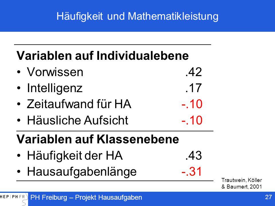 Häufigkeit und Mathematikleistung