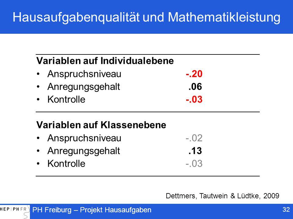 Hausaufgabenqualität und Mathematikleistung
