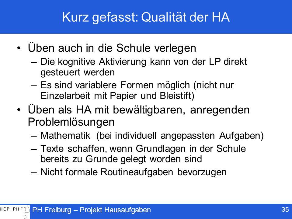 Kurz gefasst: Qualität der HA