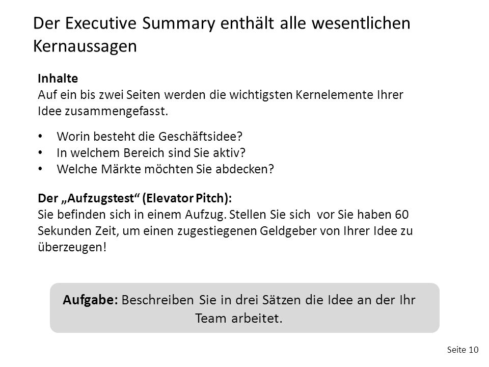 Der Executive Summary enthält alle wesentlichen Kernaussagen