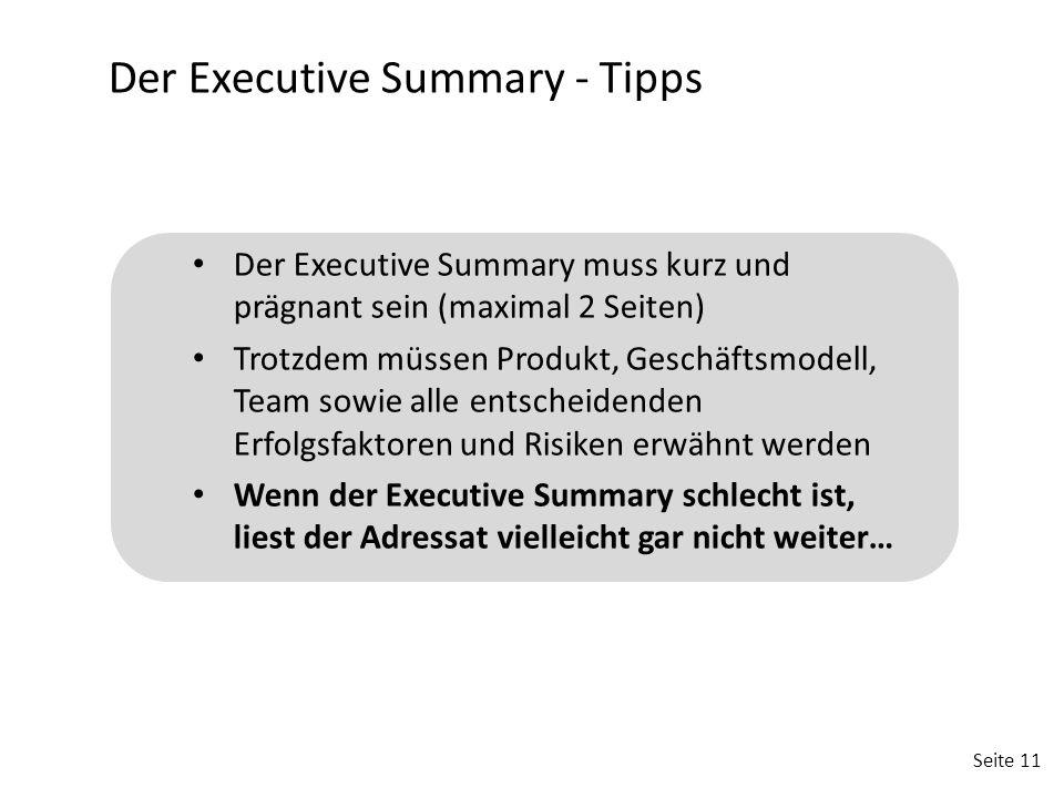 Der Executive Summary - Tipps
