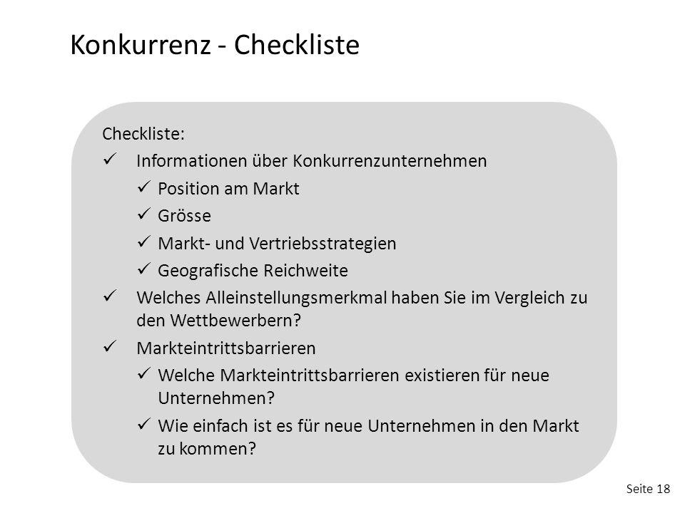 Konkurrenz - Checkliste