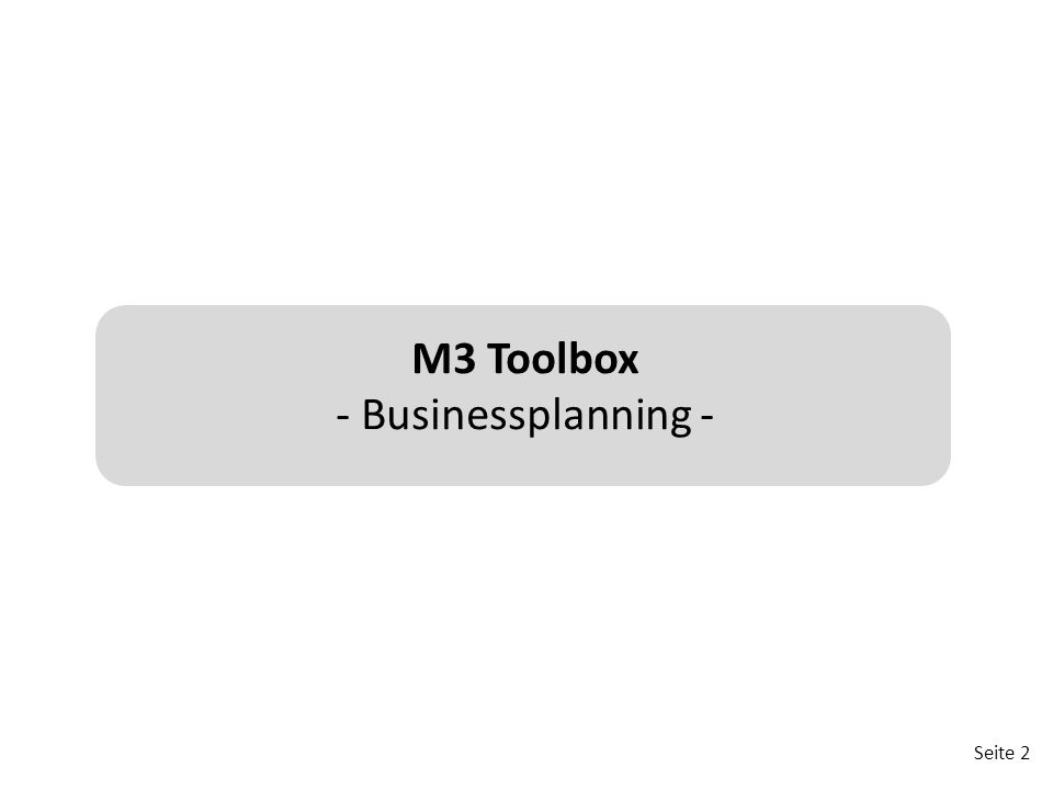 M3 Toolbox - Businessplanning -