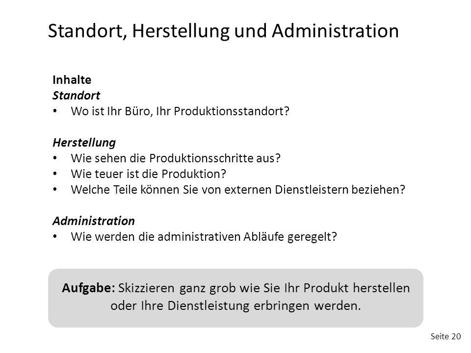 Standort, Herstellung und Administration