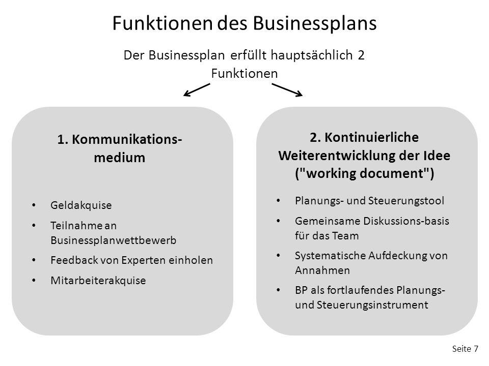 2. Kontinuierliche Weiterentwicklung der Idee ( working document )