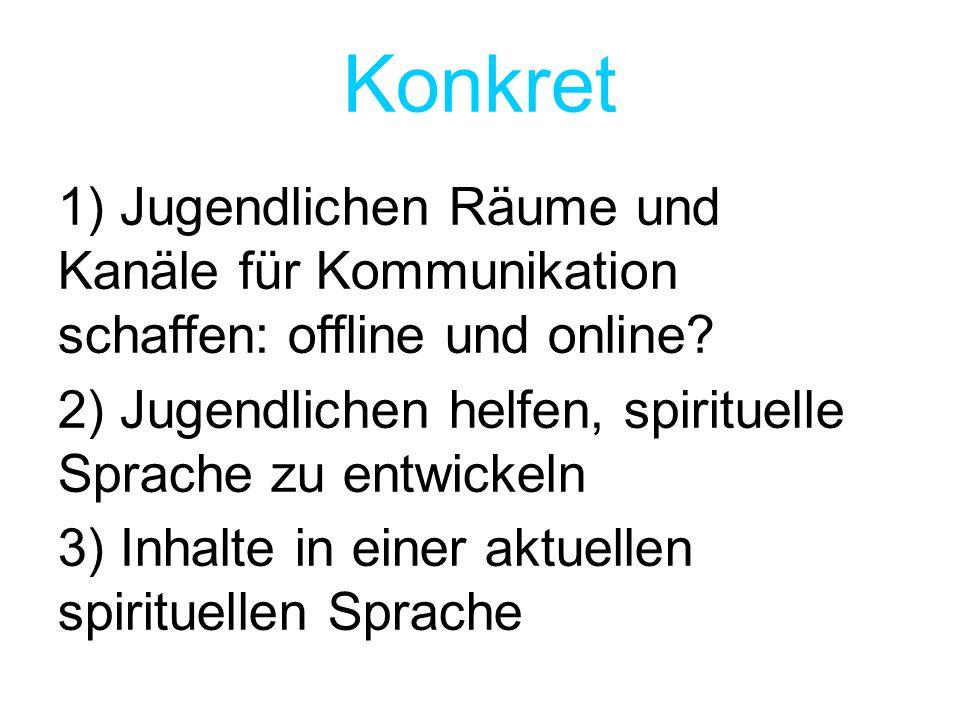 Konkret 1) Jugendlichen Räume und Kanäle für Kommunikation schaffen: offline und online