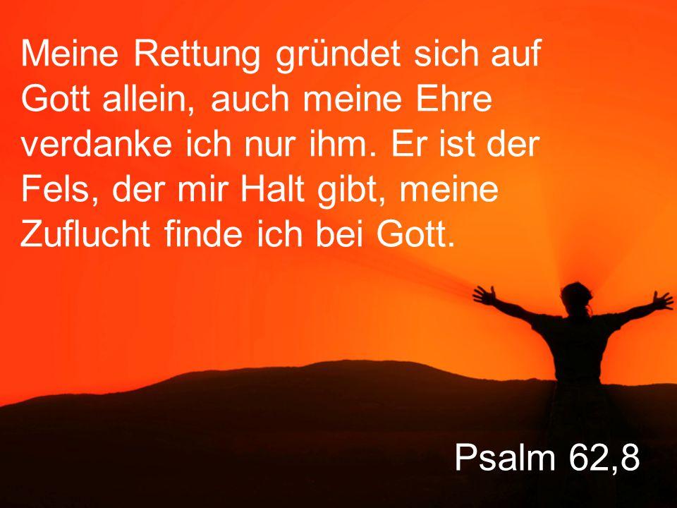 Meine Rettung gründet sich auf Gott allein, auch meine Ehre verdanke ich nur ihm. Er ist der Fels, der mir Halt gibt, meine Zuflucht finde ich bei Gott.