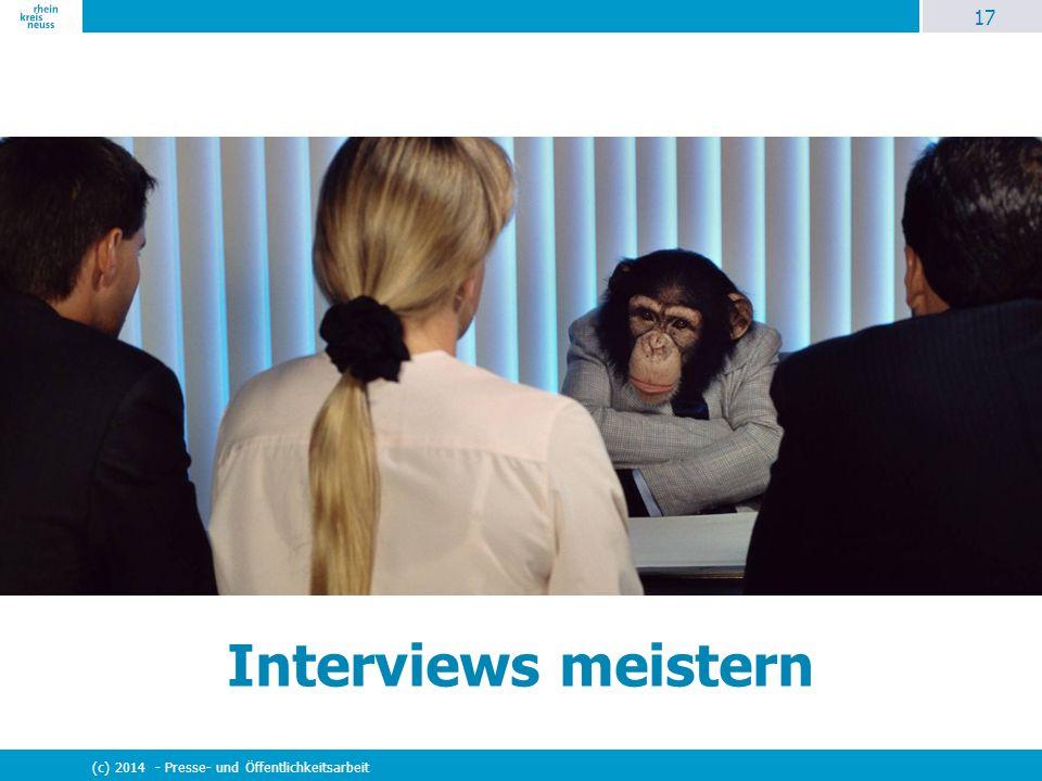 Interviews meistern (c) 2014 - Presse- und Öffentlichkeitsarbeit