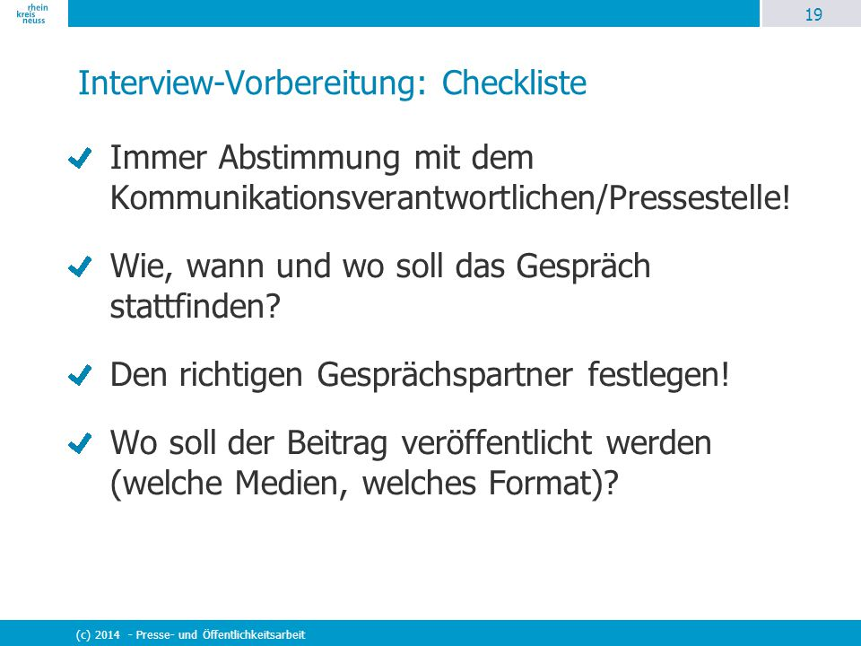 Interview-Vorbereitung: Checkliste