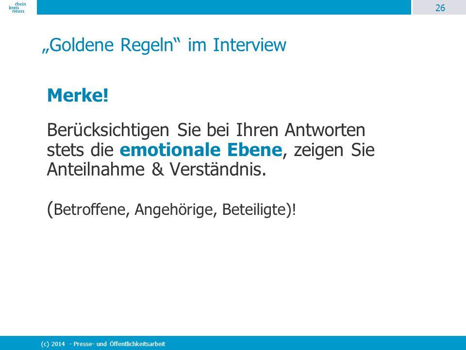 """""""Goldene Regeln im Interview"""