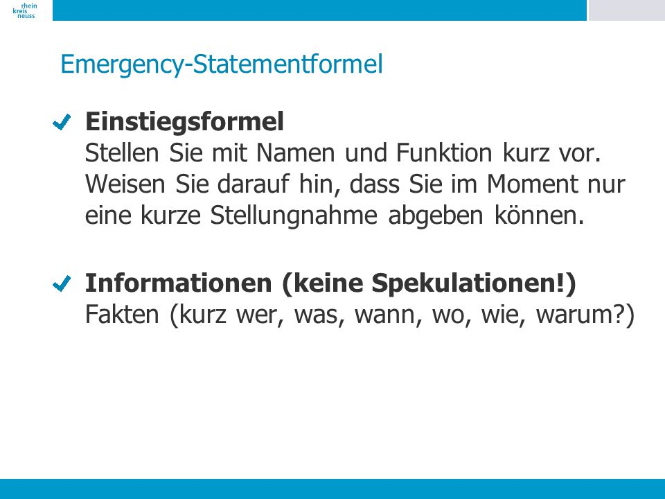 Emergency-Statementformel