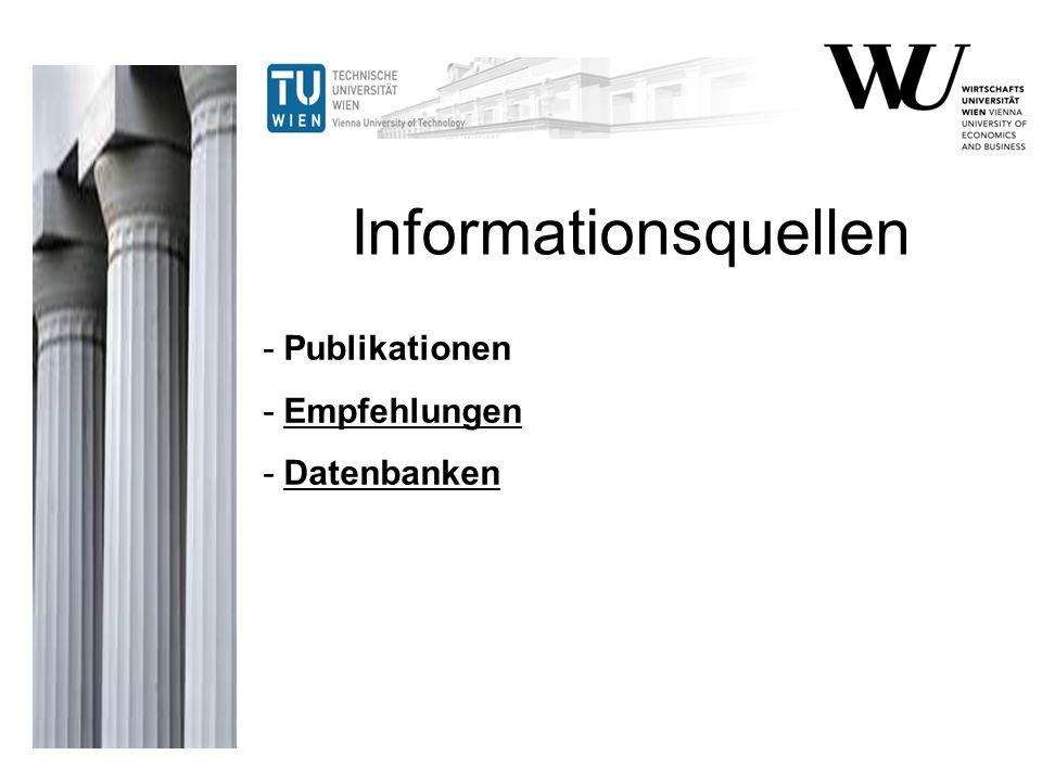 - Publikationen - Empfehlungen - Datenbanken