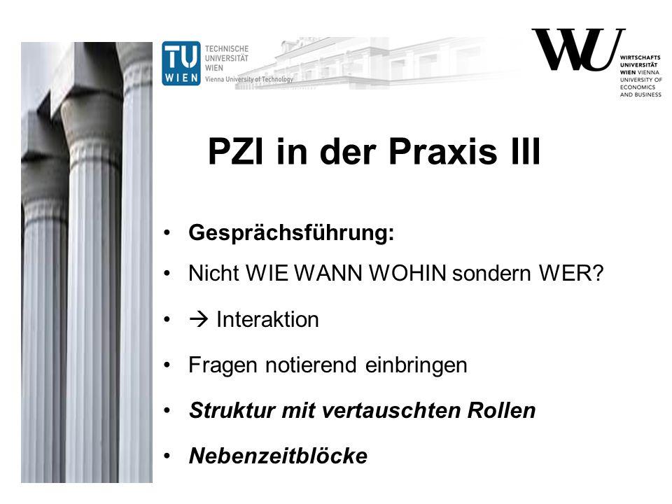 PZI in der Praxis III Gesprächsführung: