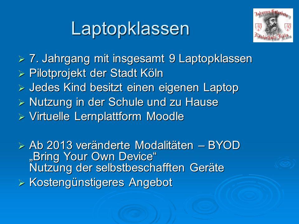 Laptopklassen 7. Jahrgang mit insgesamt 9 Laptopklassen