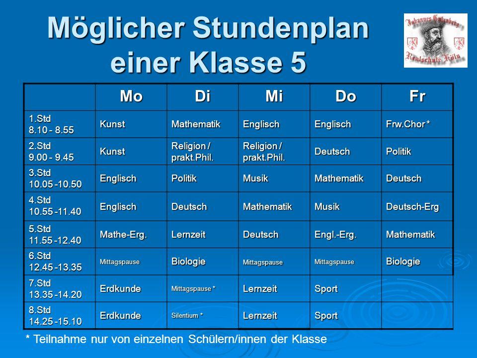 Möglicher Stundenplan einer Klasse 5