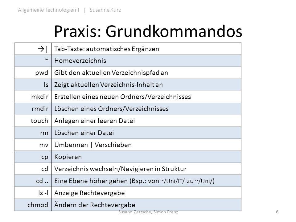 Praxis: Grundkommandos
