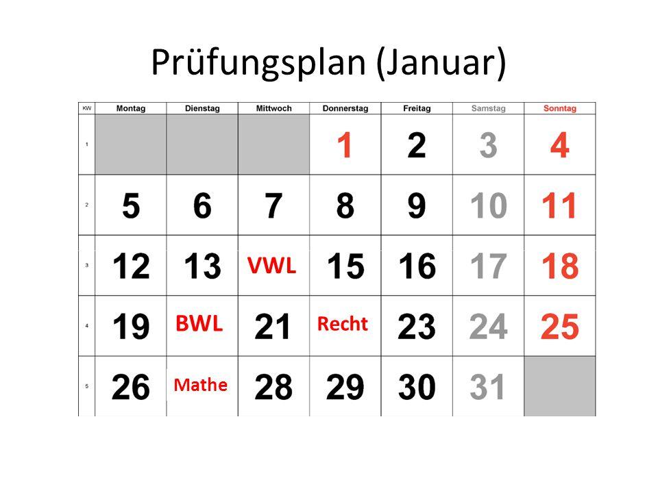 Prüfungsplan (Januar)