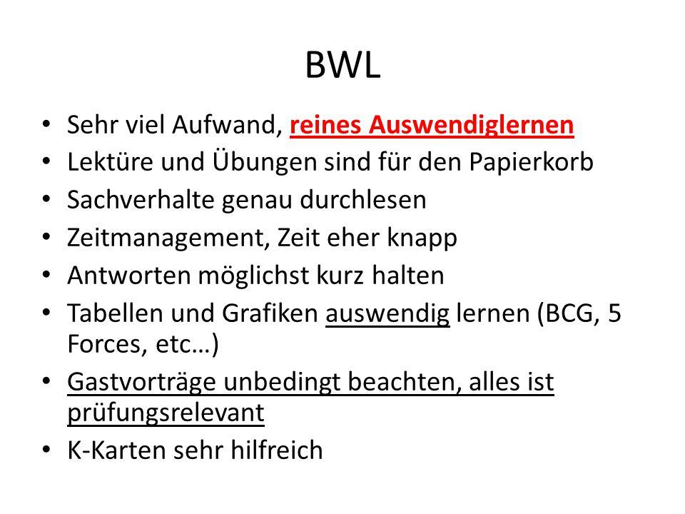BWL Sehr viel Aufwand, reines Auswendiglernen