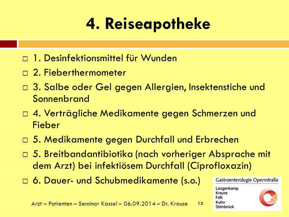 4. Reiseapotheke 1. Desinfektionsmittel für Wunden