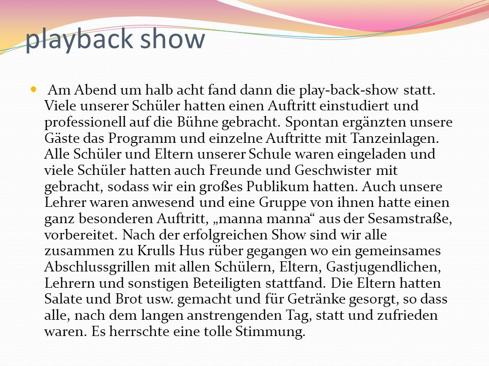 playback show
