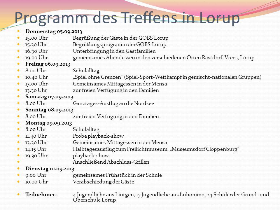 Programm des Treffens in Lorup