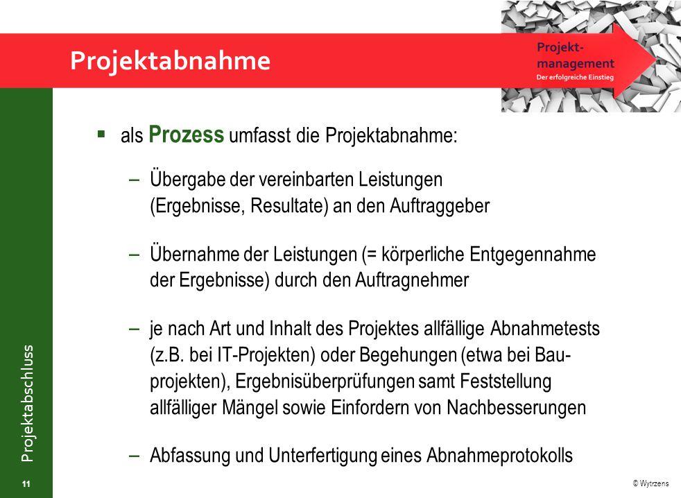 Projektabnahme als Prozess umfasst die Projektabnahme: