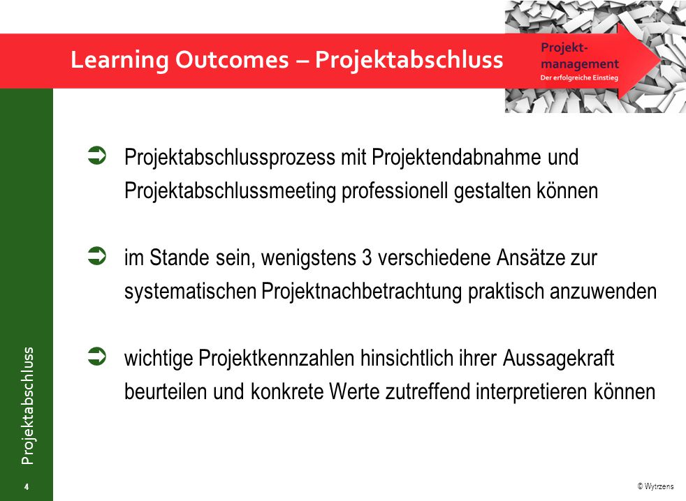 Learning Outcomes – Projektabschluss