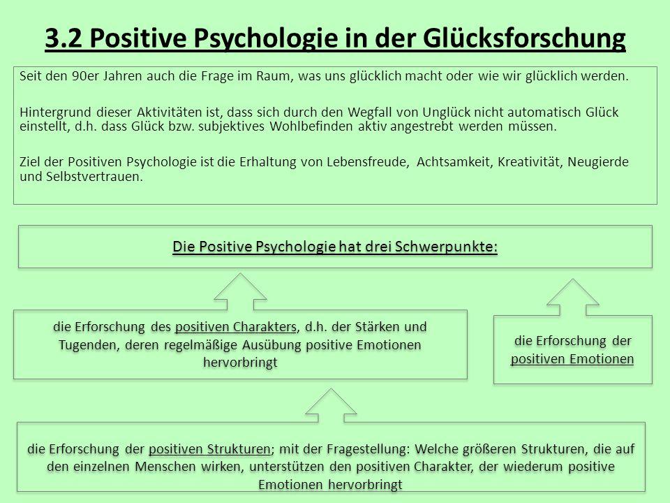 3.2 Positive Psychologie in der Glücksforschung