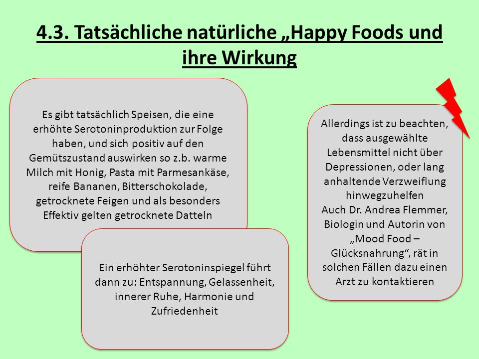 """4.3. Tatsächliche natürliche """"Happy Foods und ihre Wirkung"""