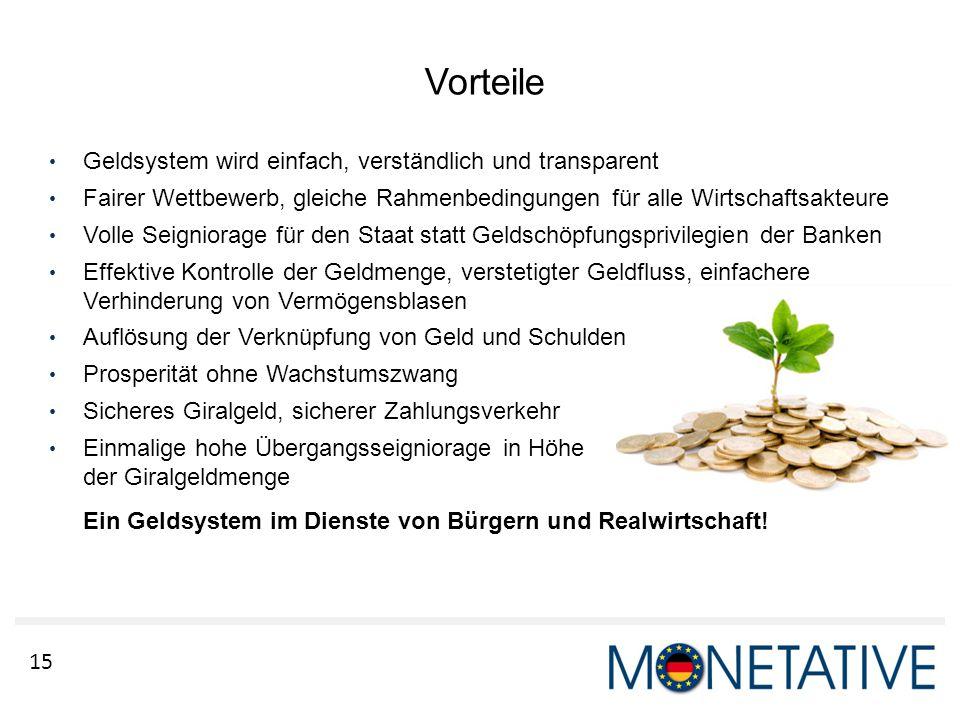 Vorteile Geldsystem wird einfach, verständlich und transparent
