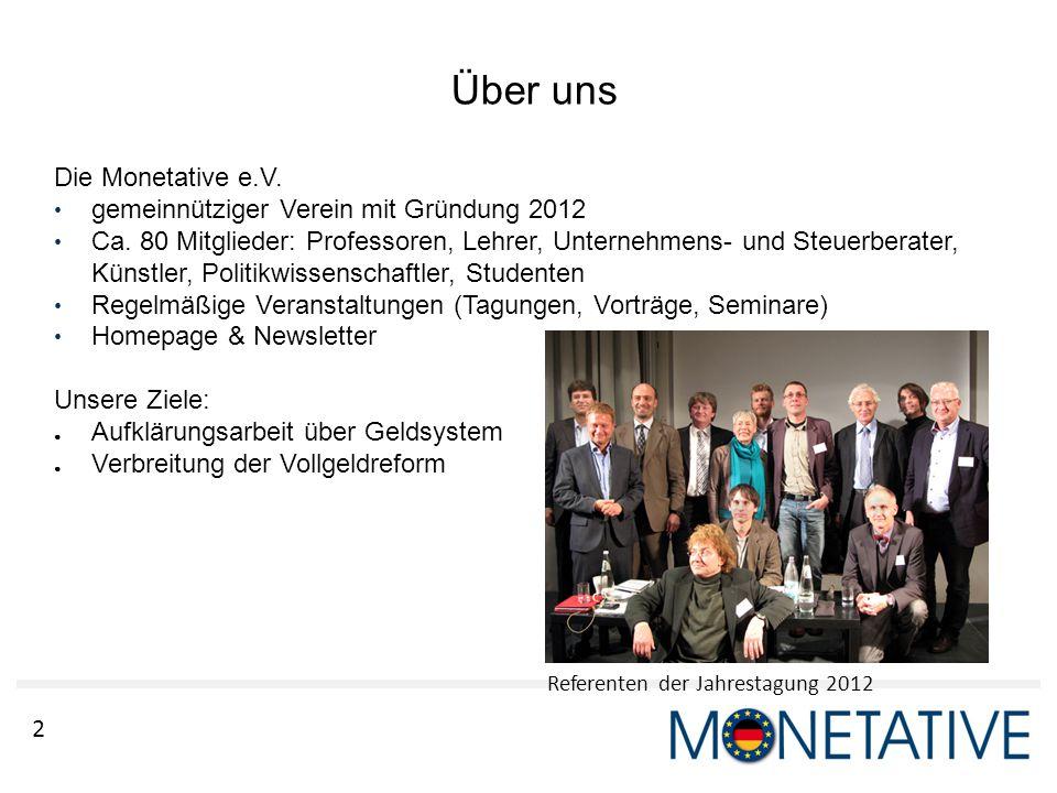 Über uns Die Monetative e.V. gemeinnütziger Verein mit Gründung 2012