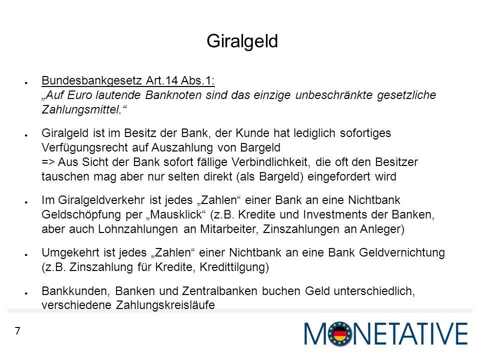 """Giralgeld Bundesbankgesetz Art.14 Abs.1: """"Auf Euro lautende Banknoten sind das einzige unbeschränkte gesetzliche Zahlungsmittel."""