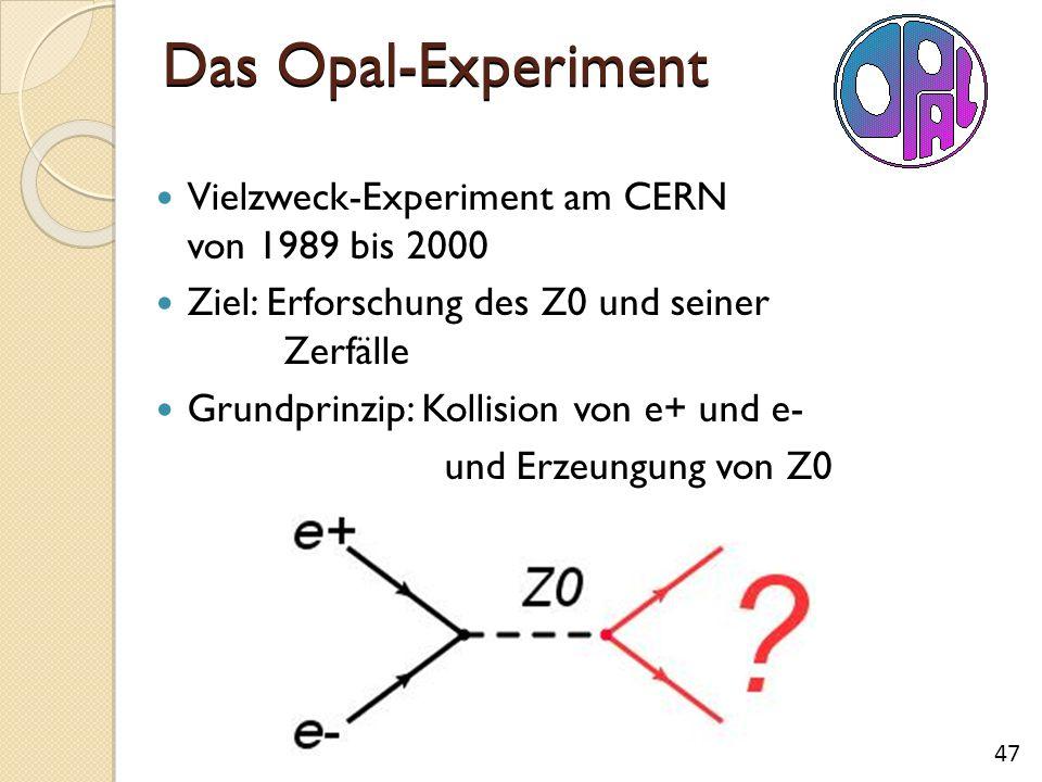 Das Opal-Experiment Vielzweck-Experiment am CERN von 1989 bis 2000