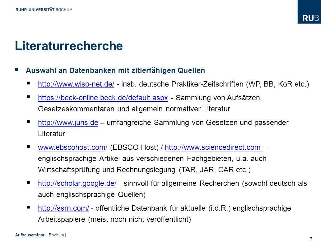 Literaturrecherche Auswahl an Datenbanken mit zitierfähigen Quellen