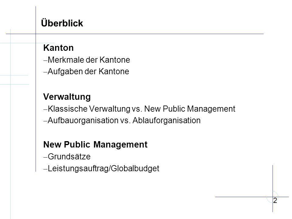 Überblick Kanton Verwaltung New Public Management Merkmale der Kantone