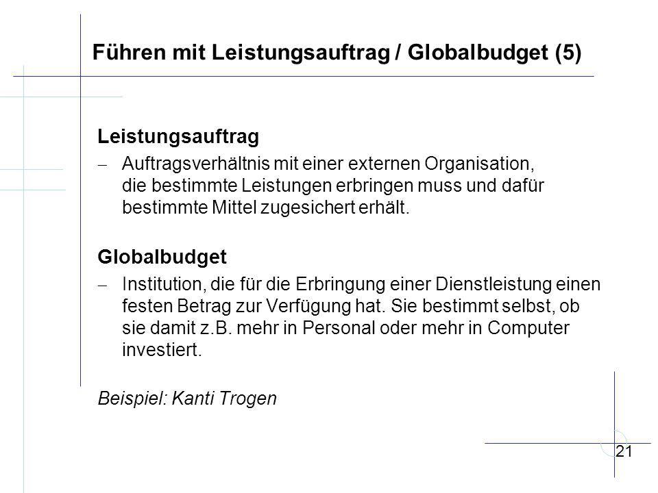 Führen mit Leistungsauftrag / Globalbudget (5)
