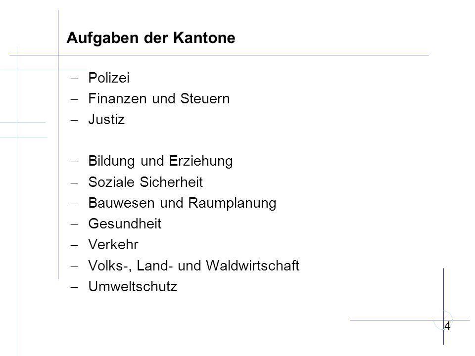 Aufgaben der Kantone Polizei Finanzen und Steuern Justiz