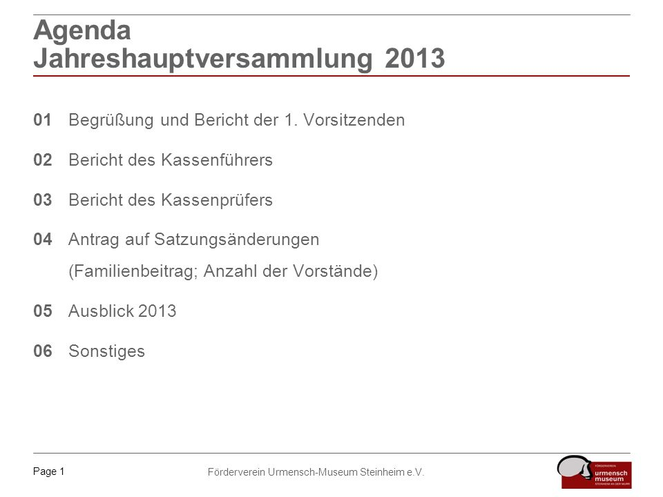 Agenda Jahreshauptversammlung 2013