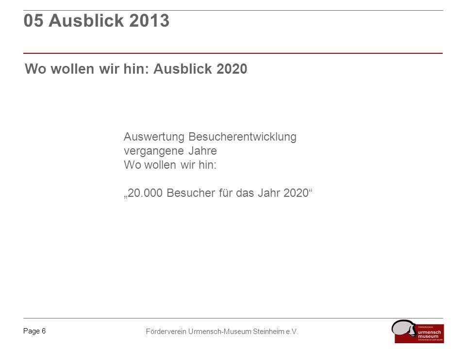 05 Ausblick 2013 Wo wollen wir hin: Ausblick 2020